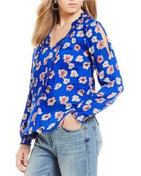 Lucky Brand | Umi Long Sleeve Floral Peasant Top | Lyst
