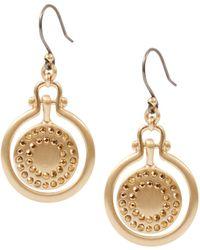 Lucky Brand - Brushed Pave Orbital Earrings - Lyst