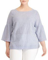 Lauren by Ralph Lauren - Plus Size Stripe Stretch Cotton Bell-sleeve Top - Lyst