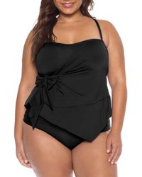 78f58dfc800 Becca - Plus Size Color Code Wrap Front Tie Side Tankini Swimsuit Top - Lyst