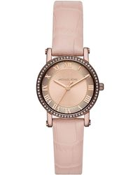 Michael Kors - Ladies' Norie Sable Ip And Pink Leather Watch - Lyst