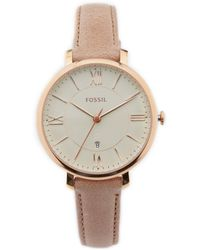 Fossil - Jacqueline 3-hand Tan Leather Strap Watch - Lyst