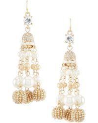 Belle By Badgley Mischka - Cluster Pearl Bead Drop Statement Earrings - Lyst