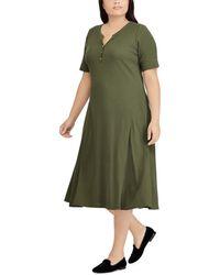 Lauren by Ralph Lauren - Plus Size Cotton Fit-and-flare Midi Dress - Lyst