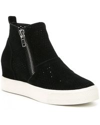 bc593bf145f Steve Madden - Wedgie Perforated Suede Sneakers - Lyst