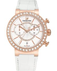 Swarovski - Citra Sphere Crystal Chronograph Leather-strap Watch - Lyst