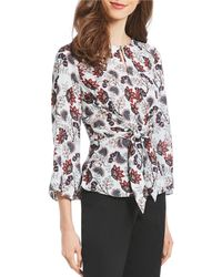 Ivanka Trump - Floral Print Tie Front Keyhole Blouse - Lyst