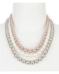Dillard's - Pearl Three Row Tri-tone Color Necklace - Lyst