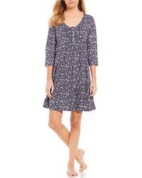 Carole Hochman - Ditsy Floral-print Jersey Knit Sleep Shirt - Lyst