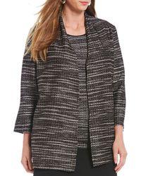 Kasper - Plus Size Knit Textured Fly Away Topper Cardigan - Lyst