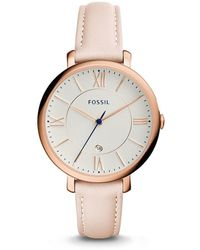 Fossil | Jacqueline Date Blush Leather Watch | Lyst