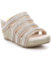 Volatile - Sensation Fabric Multi Strap Stone Embellished Wedge Sandals - Lyst
