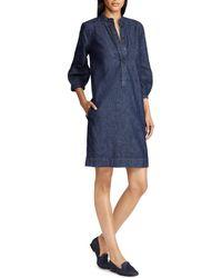 Lauren by Ralph Lauren - Mandarin Collar Denim Shift Dress - Lyst