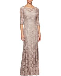 Alex Evenings - Petite Sequin Lace 34 Sleeve Long Gown - Lyst