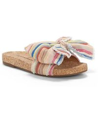 Lucky Brand Floella Striped Bow Slide Sandals A2vbuuu