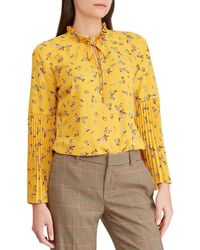 Lauren by Ralph Lauren - Petite Size Floral Print Ruffle Mock Neck Georgette Pleated Bell Sleeve Top - Lyst