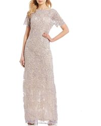 JS Collections Beaded Mesh Soutache Gown