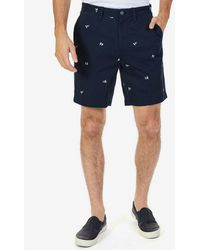 Nautica - Big & Tall Flag Critter Embroidered Flat-front Shorts - Lyst