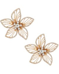 Belle By Badgley Mischka - Pave Open Flower Stud Earrings - Lyst