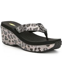 Volatile - Amane Leopard Print Wedge Thong Sandals - Lyst