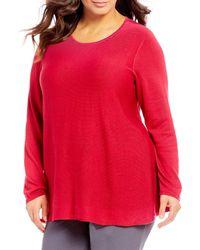 8ce1d9ebc53 Eileen Fisher - Plus Size Crew Neck Sweater - Lyst