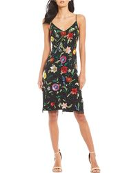 d94be437ca Gianni Bini - Tatiana V-neck Allover Floral Beaded Sequin Dress - Lyst