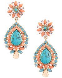 Belle By Badgley Mischka | Multi Stone Turquoise Tear Drop Statement Earrings | Lyst