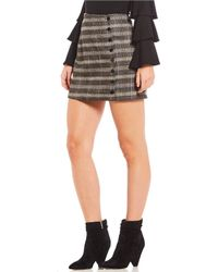 Sugarlips - Menswear Plaid Button-front Mini Skirt - Lyst
