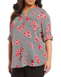 Calvin Klein - Plus Size Striped Floral Print Button Front Blouse - Lyst