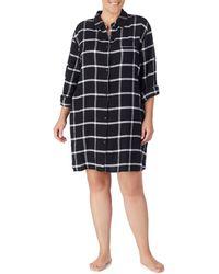 Donna Karan - Plus Flannel Plaid-print Knit Sleepshirt - Lyst