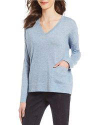 Eileen Fisher - Petite Size V-neck Knit Box Top - Lyst