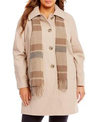London Fog - Plus Wool Single Breasted Coat With Plaid Scarf - Lyst