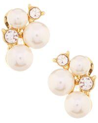 Anne Klein - Faux-pearl Cluster Clip-on Earrings - Lyst