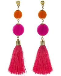 Panacea - Statement Ball Earrings With Tassels - Lyst