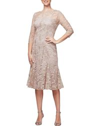 Alex Evenings - Petite Size Fit And Flair Embroidered Dress - Lyst