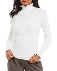 Antonio Melani - Cortina Ribbed Knit Mock Neck Lettuce Hem Sweater - Lyst