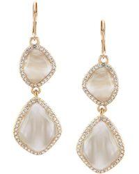 Belle By Badgley Mischka - Pave Multi Stone Drop Earrings - Lyst