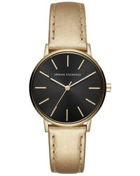 Armani Exchange - Analog Metallic Leather-strap Watch - Lyst