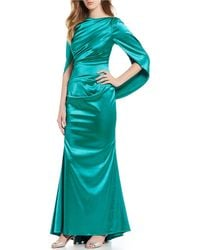 Betsy & Adam - Ruched Long Cap Sleeve Satin Gown - Lyst