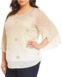 Ruby Rd. - Plus Size Tulip Bell Sleeve Ombre Fade Border Print Slub Burnout Top - Lyst