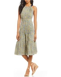 Antonio Melani - Made With Liberty Fabrics Olivia Paisley Print Tiered Skirt Midi Dress - Lyst