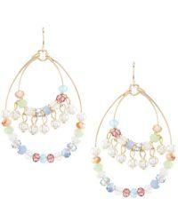 Dillard's - Tailored Beaded Hoop Statement Earrings - Lyst
