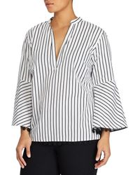 ab3bdc0814d Lauren by Ralph Lauren - Plus Size Plaid Cotton Bell Sleeve Stripe Top -  Lyst