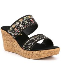 Onex - Rubi Leather Metallic Pattern Studs Wedge Sandals - Lyst