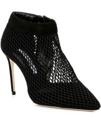 Brian Atwood - Vain Suede And Fishnet Booties - Lyst