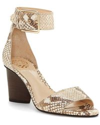 Vince Camuto | Driton Snake Print Block Heel Dress Sandals | Lyst