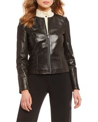 Antonio Melani - Luxury Collection Mila Genuine Leather Zip Front Jacket - Lyst