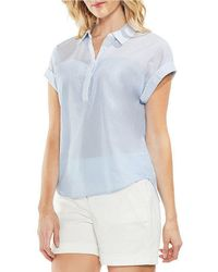 Vince Camuto - Slub Stripe Short Sleeve Top - Lyst