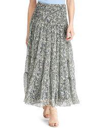 Lauren by Ralph Lauren - Tiered Floral Print Georgette Maxi Skirt - Lyst