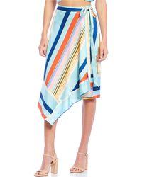 4a84aafac Lucy Paris - Tessa Striped Asymmetric Hem Faux Wrap Skirt - Lyst